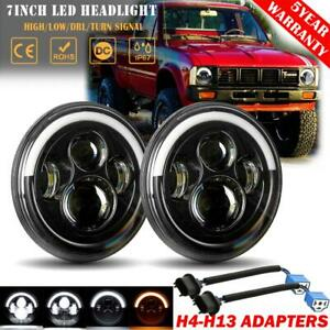 2x 7 Led Headlights Drl Hi Lo Angel Eyes Sealed Dot Beam For Toyota 69 87 Truck
