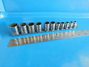 Used Snap On Sae Short 12 Point 3 8 Dr Socket Set 1 4 Thru 7 8 In