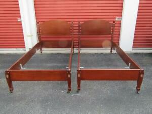 2 Biggs Furniture Mahogany Twin Beds Very Nice Bolt Bed Construction
