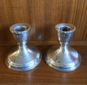 Vintage Duchin Us Sterling Silver Candlesticks Candle Holder Weighted Minimal Pr