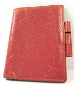 Hermes Mini Agenda Name Card Memo Diary Case Business Pass Id Wallet Leather Red