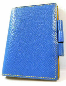 Hermes Mini Agenda Name Card Diary Case Business Pass Id Wallet Leather Blue