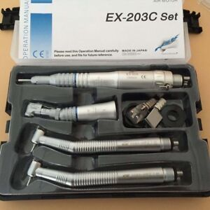 Dental Wrench Type Handpieces Kit 2 High Speed 1 Low Speed 4 Holes Us Stock
