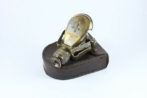Calyron Dolland London 1920 Antique Style Brass Monocular In Leather Case