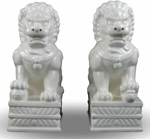 Porcelain Pair Foo Dogs Fu Dogs Statues Lion Fengshui Door God White Dehua