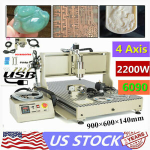 Usb 4 Axis 6090z Cnc Router Engraver 2 2kw Metal Drill engraving Milling Machine