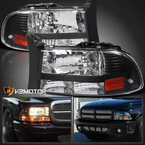For 1997 2004 Dodge Dakota Durango Suv Black 1pc Style Headlights Left right
