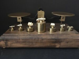 Vintage Chevy Weighing Scale With Brass Weights Topped With Truck