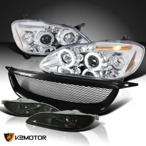 For 2005 2008 Toyota Corolla Clear Led Halo Projector Headlights Fog Lamp Grille