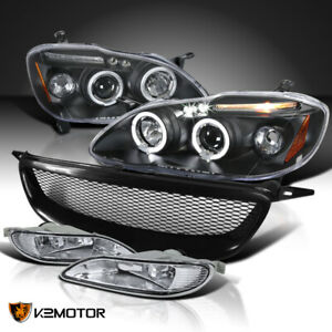 For 2005 2008 Toyota Corolla Black Halo Projector Headlights Clear Fog Grille
