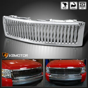 For 2007 2013 Chevy Silverado 1500 Chrome Vertical Front Bumper Hood Grille