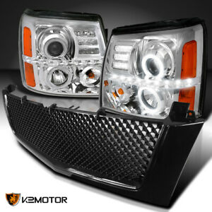 For 2002 2006 Escalade Clear Led Halo Projector Headlights glossy Black Grille