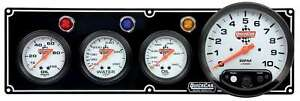 Quickcar Racing Products 3 1 Gauge Panel Op wt ot W 5in Tach Black 61 6741