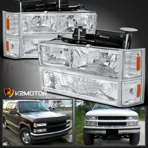 94 98 Chevy C10 C k Tahoe Suburban Headlights Pair corner Lamps bumper Lights