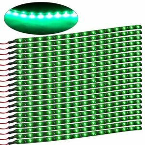 20pcs 12v 3258 15 Led 30cm Car Vehicle Flexible Waterproof Strip Light Green
