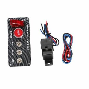 Carbon Ignition Switch Panel Engine Start Push Button 12v Led Toggle Racing Auto