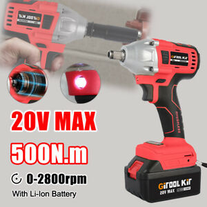 1 2 20v Brushless Impact Wrench Torque Rattle Gun Electric Battery Portable
