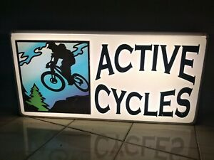 Signtronix Active Cycles Dual Marquee Fluorescent Lighted Sign For Bicycle Shop