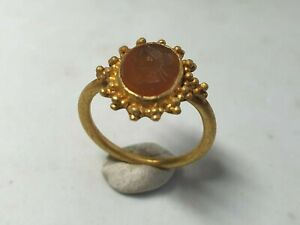 Late Roman Gold Ring With Intaglio 3rd 4th Century Ad