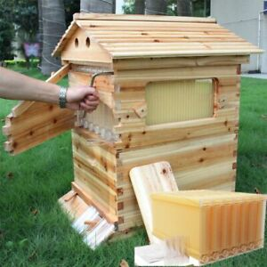 7pc Auto Honey Beehive Hive Flow Frames 2 Layers Bee Hive Frames Beekeeping Box