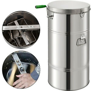 Two 2 Frame Stainless Steel Bee Honey Extractor Honeycomb Drum Beekeeping Supply