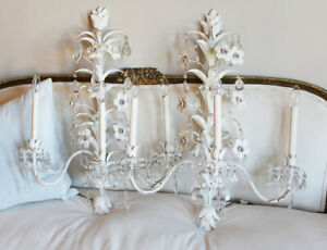 Monumental Italian Tole Pair Flower Crystals Wall Sconces Shabby Chic Gorgeous