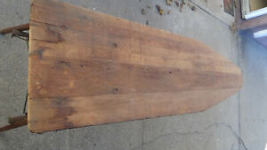 Antique Vintage Wooden Ironing Board Unique Wood And Metal Legs Patented