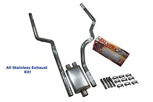 All Stainless Dual Exhaust Kit Chevy Gmc 1500 96 99 Cherry Bomb Salute Rear Exit