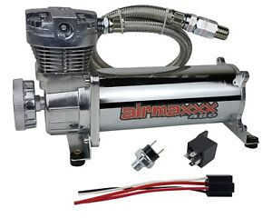 480 Air Compressor Chrome For Horn Or Air Bag Suspension 165 Psi On 200 Psi Off
