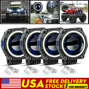4x 3 Inch Led Work Light Bar Halo Spot Pods Driving Fog Truck 4wd Off Road Atv