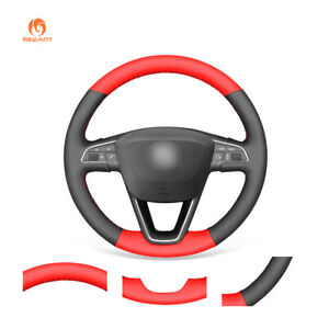 Black Red Pu Leather Steering Wheel Cover For Seat Leon Ibiza 6j Arona Alhambra