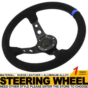 14in Deep Dish 6 Bolt Sport Racing Steering Wheel Suede Leather Horn Button Blue