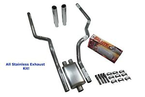 All Stainless Dual Exhaust Dodge Ram 1500 94 03 Cherry Bomb Salute Rolled Tip