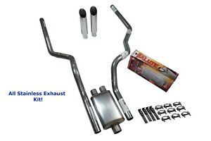 All Stainless Dual Exhaust Dodge Ram 1500 94 03 Cherry Bomb Salute Slash Tip