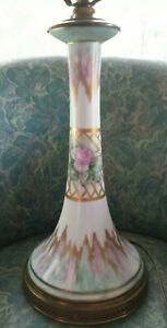 Vintage Porcelain French Art Nouveau Candlestick Lamp Painted Gold Latice Roses