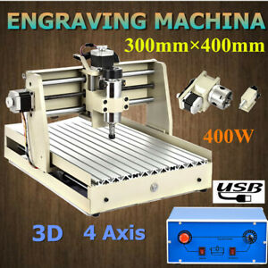Usb 4 Axis 3040t Cnc Router Engraver 400w Wood Milling Carving Cutting Machine