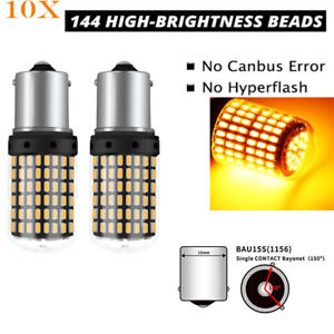 10x Amber 1156py 3014 144smd Bau15s 7507 Py21w Led Turn Signal Lights Bulbs 12v