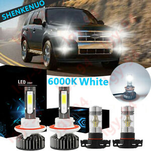 For Ford Escape 2008 2012 4x Combo H13 Led Headlight 5202 Fog Light Bulb F2