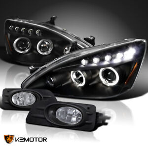 Fits 2006 2007 Accord 4dr Black Halo Projector Headlights clear Bumper Fog Lamps