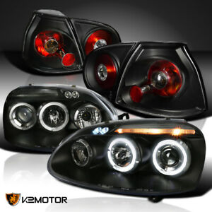 Fit 06 08 Golf rabbit Led Halo Projector Black clear Headlights tail Lights Pair