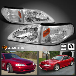 Fits 1994 1998 Mustang Crystal Clear Headlights Turn Signal Lamps Corner Lights