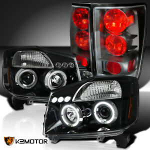 For 2004 2015 Nissan Titan Jet Black Halo Projector Headlights Tail Lamps