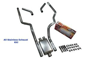 All Stainless Dual Exhaust Chevy Gmc 1500 96 99 Cherry Bomb Salute Corner Exit