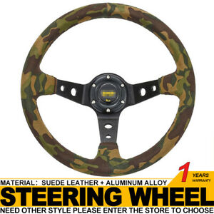 Universal 350mm 14in Camouflage Suede Leather Deep Dish Racing Steering Wheel