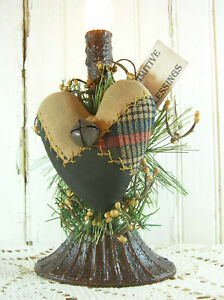 Early Light Farmhouse Heart Antique Embroidered Crazy Quilt Electric Candle Lamp