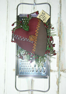 Primitive Farmhouse Heart Antique Embroidered Crazy Quilt Kitchen Utensil Grater