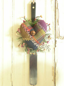 Primitive Farmhouse Heart Antique Embroidered Crazy Quilt Kitchen Utensil Icer