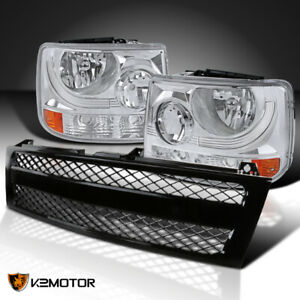 Chevy 99 02 Silverado 1500 2500 1pc Style Headlights mesh Black Hood Grille