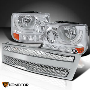 Chevy 99 02 Silverado 1500 2500 1pc Style Headlights mesh Chrome Hood Grille