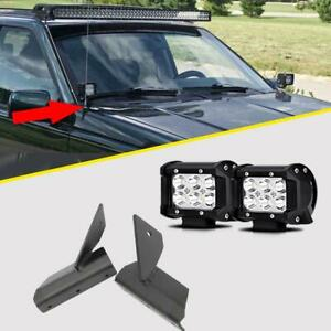 36w 4 Cree Led Light Bar Spot Offroad W Mounting Brackets For Jeep Cherokee Xj